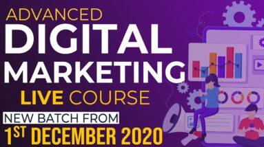 LIVE Digital Marketing 3 Months Course   Starting from 1st December 2020   WsCube Tech